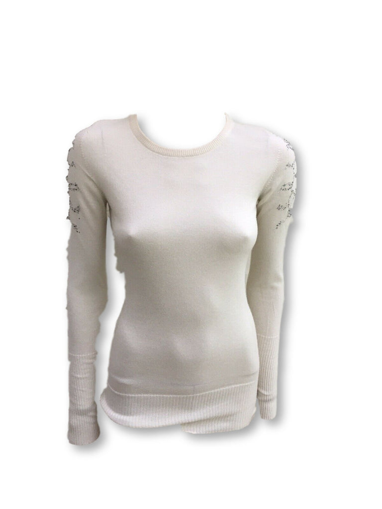 Harrods of London Swarovski Crystals Embellished Knit Sweater Jumper  Ladies