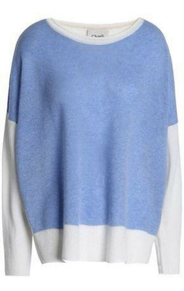 CHARLI Oversized Color-block Cashmere Sweater Light Blue Jumper Sweater Size XS ladies