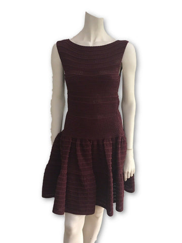 AZZEDINE ALAÏA ALAIA BURGUNDY KNIT SKATER DRESS Ladies