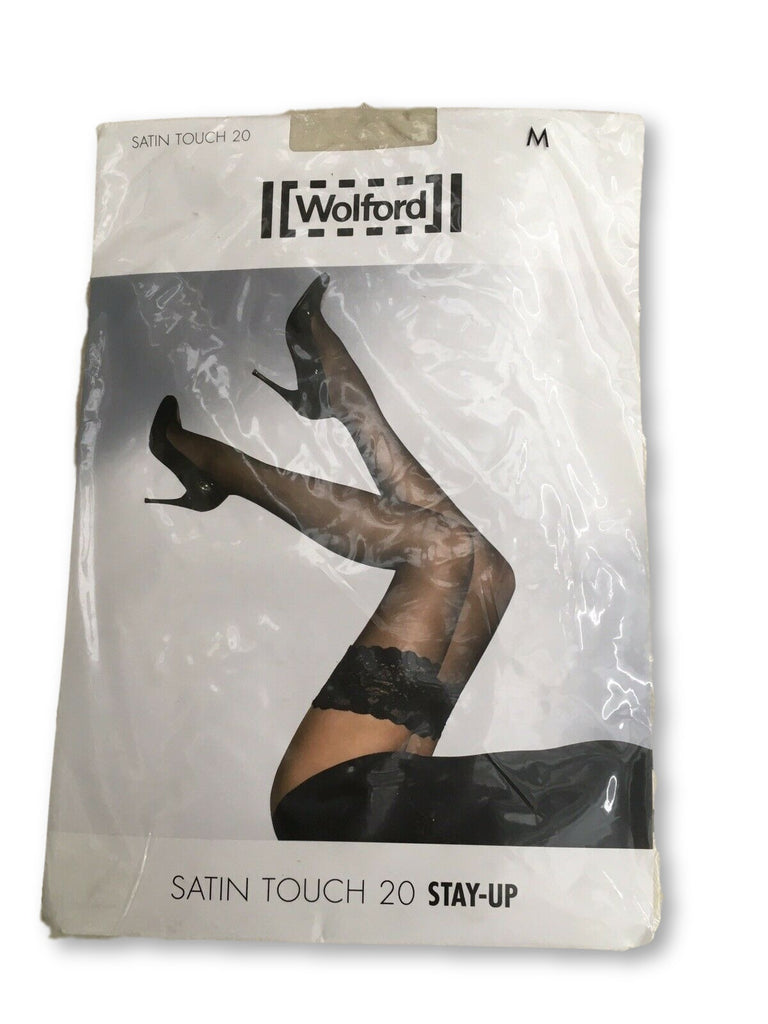 Wolford Women's White Satin Touch 20 Stay-up Thigh Highs Medium M Ladies