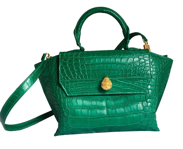 Ethan K Limited Edition Green Emerald Crocodile Satchel Handbag Bag Ladies