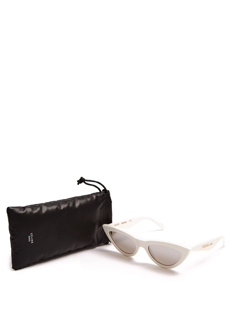 684d40612c5 ... Céline Spring 2018 Runaway WHITE CAT EYE SUNGLASSES WITH MIRROR LENSES  Ladies ...