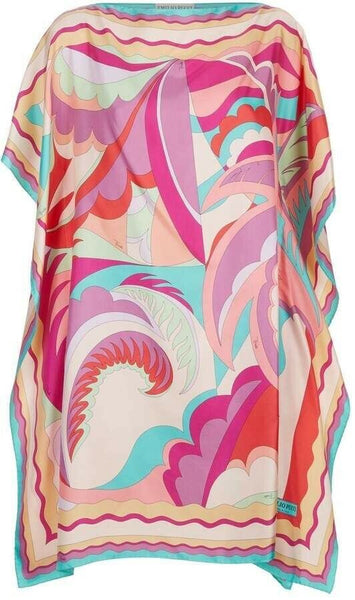 Emilio Pucci 2019 MOST WANTED Gorgeous Silk Printed Kaftan Dress ONE SIZE FITS ladies