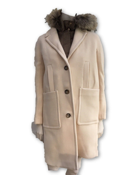 TARA JARMON Wool Raccoon Fur Detachable Lining COAT JACKET Ladies