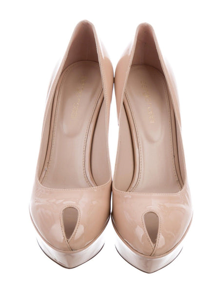 SERGIO ROSSI PATENT PLATFORM BEIGE NUDE LEATHER PUMPS SHOES Ladies