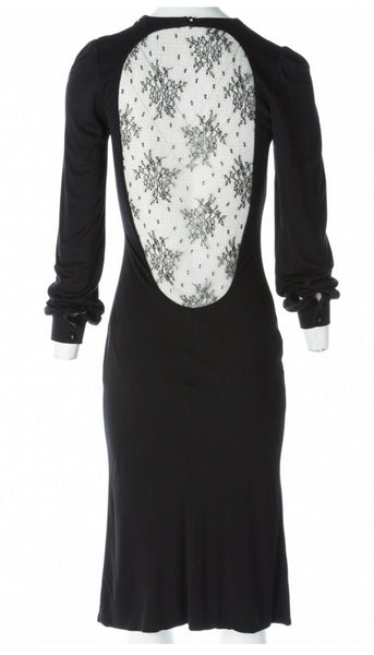 Alexander McQueen 'Hitchcock' Runway Lace Back Dress F/W 2005 I 42 UK 10 Ladie