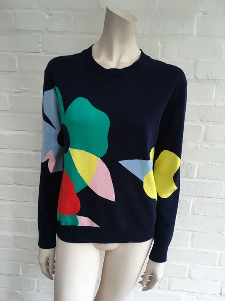 Mira Mikati Women's Blue Floral Intarsia Sweater Jumper 38 US 6 Ladies