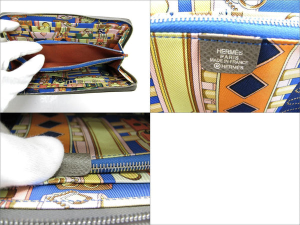 Hermès Hermes Azap Silk In Zip Around Long Wallet Purse Epsom Leather Etoupe Ladies