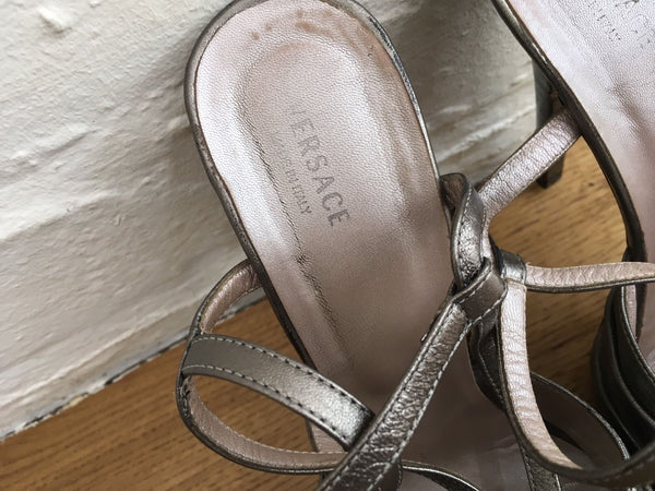 Versace Metallic Leather Sandals with Rose Detail in Gray Shoes Ladies