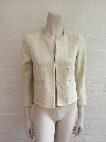 Chanel 09P Wool IVORY Cropped Jacket Blazer Exquisite F 34 UK 4 US 0-2 XXS LADIES