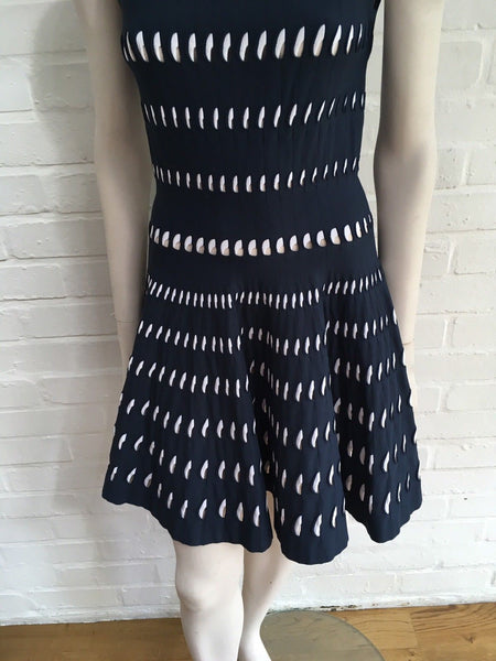 AZZEDINE ALAÏA ALAIA Perforated cut-out skater dress F 40 UK 12 US 8 L Large Ladies
