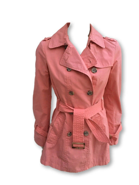 STILLE BENETTON Short Trench Coat Jacket Peacock Double Breasted Size I 40 UK 8 ladies