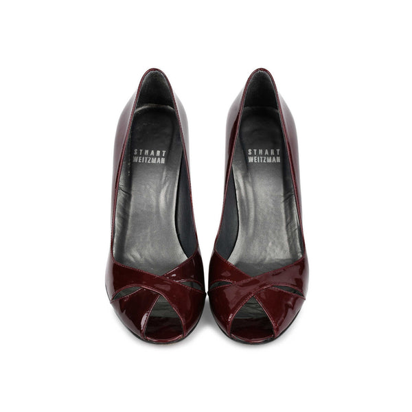 STUART WEITZMAN SASHAY Burgundy Patent Open Toe Pumps Heels Shoes Ladies