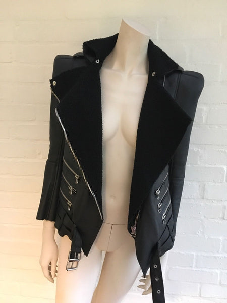 Balmain Shearling Lined Biker Jacket Size F 36 Most Wanted $10,450 Ladies