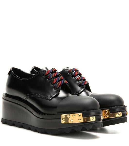 PRADA Cap Toe Leather Platform Derbys Shoes 39 UK 6 US 9 ladies