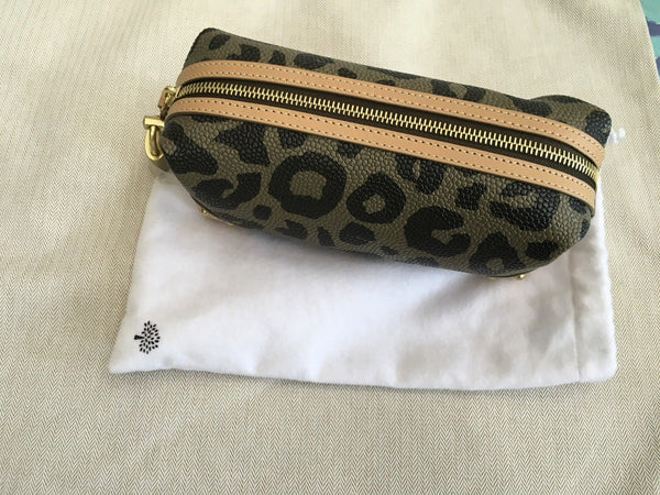 MULBERRY Leopard Print Make Up Bag Black & Birds Nest Printed Pouch BAG Ladies