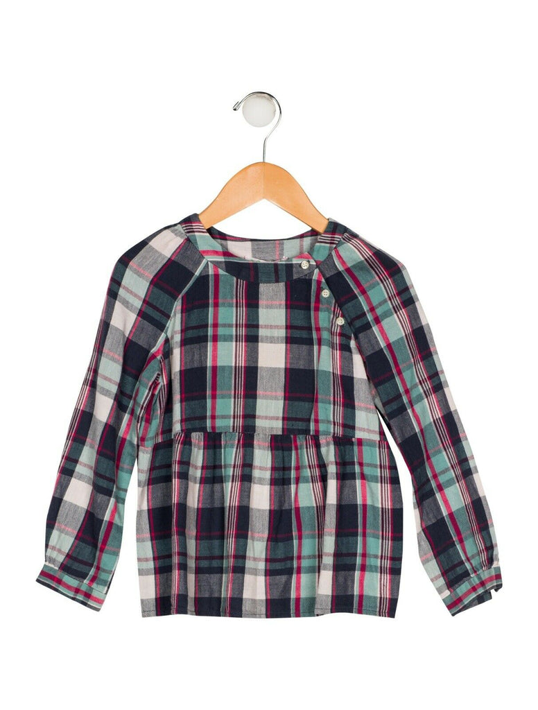 BONPOINT Girls' Plaid Check BLOUSE SIZE 4 YEARS children
