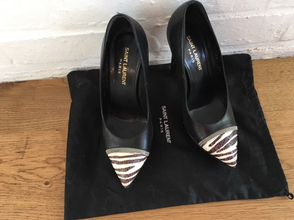 SAINT LAURENT JANIS SNAKESKIN platform Shoes Pumps Size 37 UK 4 US 7 Ladies