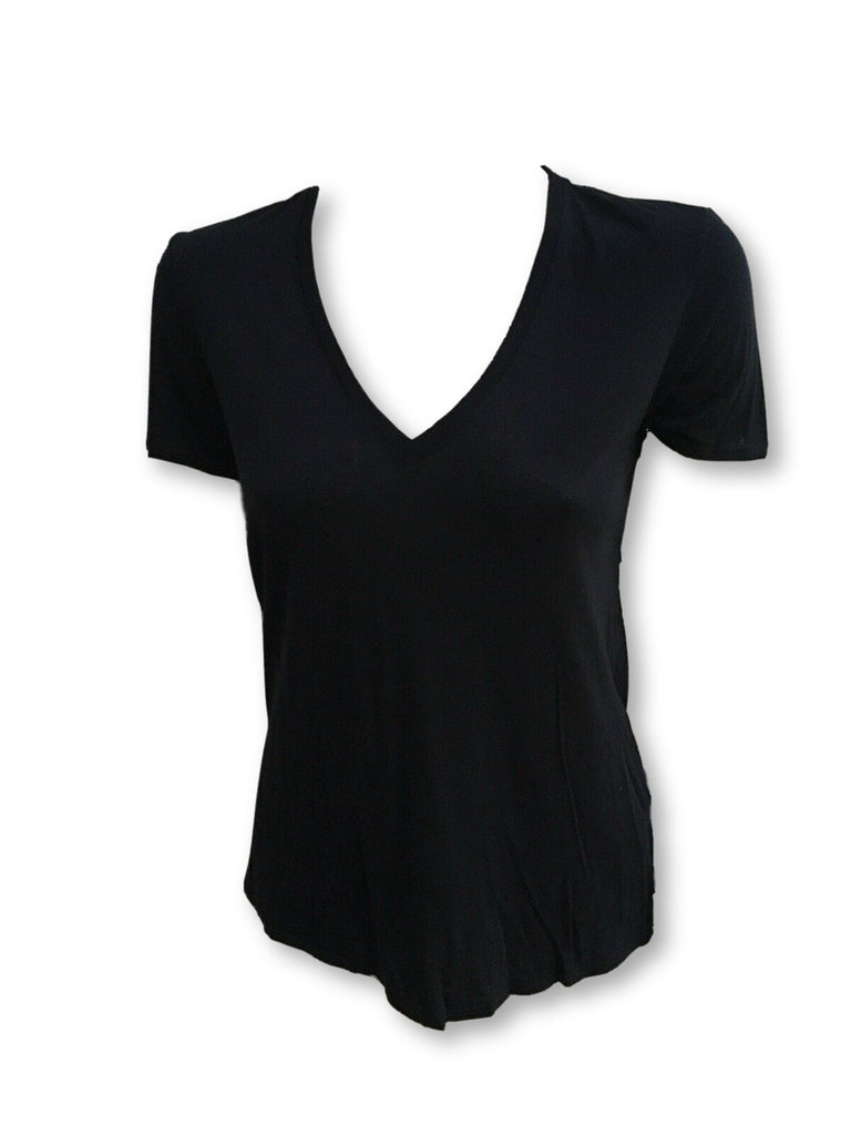 HELMUT HELMUT LANG Black V Neck Backless Tee Top Size P Petit  Ladies