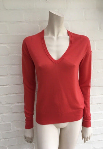 JOSEPH Cashair Red V Neck Sweater Jumper 100% Cashmere Knit Ladies