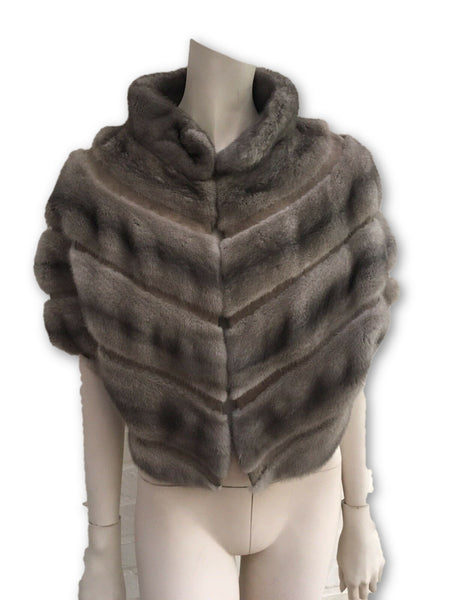 Birger Christensen Real Mink Fur Suede Insert Capelet Bolero Cropped Cape Ladies