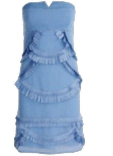 Reiss Womens Blue Blondie Ruffle Bandeau Strapless Mini Dress  Ladies