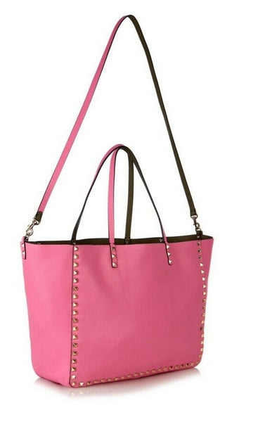 Valentino Calfskin Rockstud Double Medium Reversible Tote Pink Khaki Bag ladies