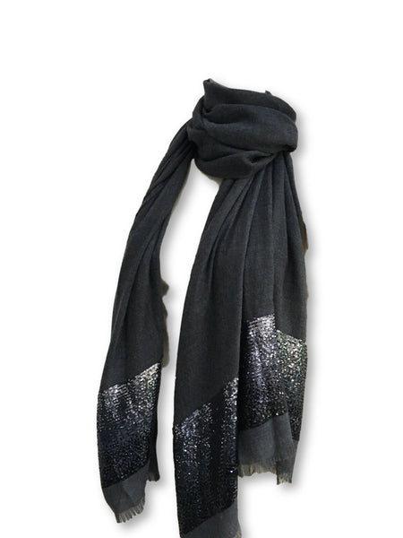 Loro Piana Cashmere Sequin Raw-Edge Scarf Shawl Ladies