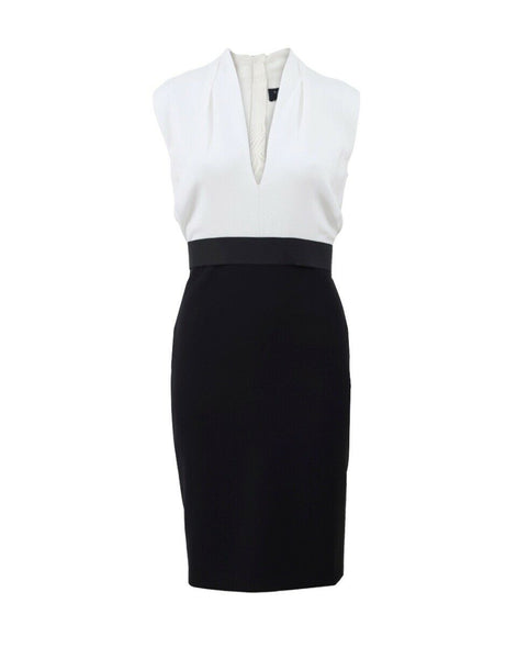 LANVIN TWO TONE BLACK & WHITE CREPE DRESS HIVER 2015  Ladies