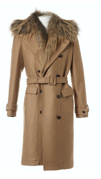 Roberto Cavalli Runaway Beige Fur Trim Coat Size I 40 UK 8 US 4 S SMALL ladies