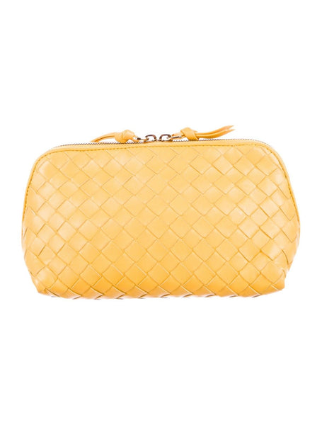 Bottega Veneta yellow intrecciato leather cosmetic pouch makeup toiletry bag wallet Ladies