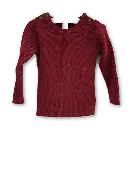 Petit Bateau Red Wool Blend Knit Sweater Jumper Top Sweatshirt  Children