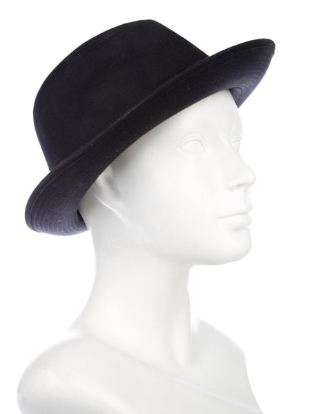 Hermès Hermes Paris Navy Blue Cotton H Embroidered Funky Fedora Hat Size 58 Men