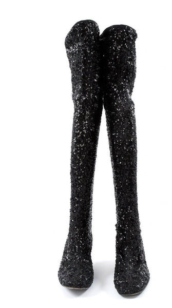 Roger Vivier Polly Sequined Over-the-Knee Tight Boots Size 37 UK 4 US 7 Ladies