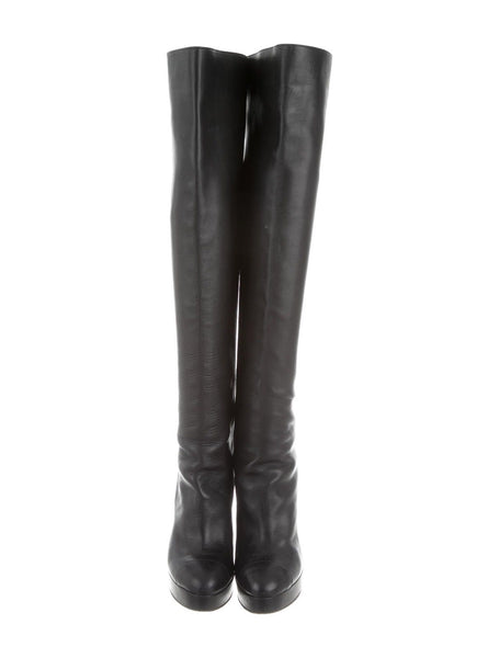 CHANEL CAP TOE OVER THE KNEE LEATHER HIGH BOOTS SIZE 39 1/2 UK 6.5 US 9.5 Ladies