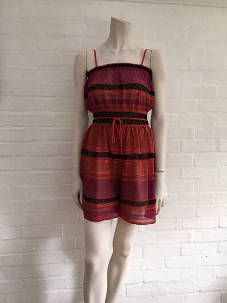 Missoni M knit crochet red raspberry romper jumpsuit Size I 42 UK 10 US 6 Ladies