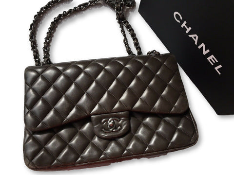 CHANEL Lambskin Jumbo Double Flap Quilted Bag Handbag ladies