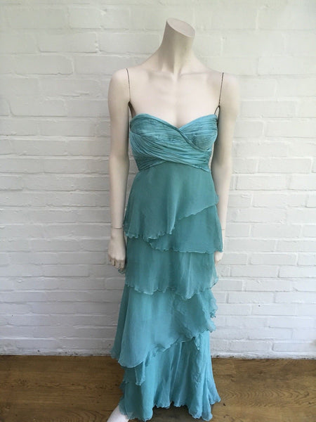 CARLOS MIELE TURQUOISE BLUE SILK CHIFFON RUNWAY DRESS GOWN Ladies