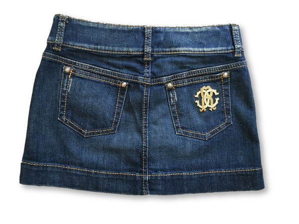 Roberto Cavalli Runaway Denim Jeans Mini Skirt Ladies