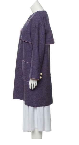 CHANEL ICONIC PURPLE TWEED KNEE LENGTH COAT JACKET $9.8K F 36 UK 8 US 4 S LADIES