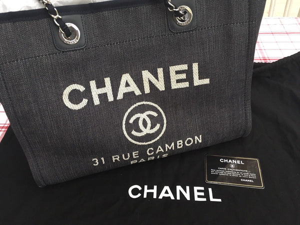 CHANEL SPRING 2016 NAVY DEAUVILLE TOTE HANDBAG BAG LADIES