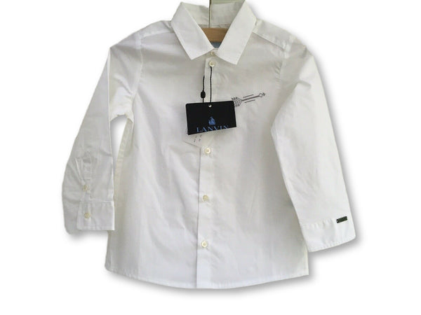 Lanvin Enfant Boys' White Casual Shirt Embroidered Arrow Children