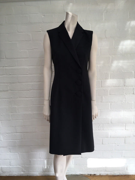 Balenciaga Black Satin-trimmed Crepe Three Button Dress Coat Size F 38 UK 10 Ladies