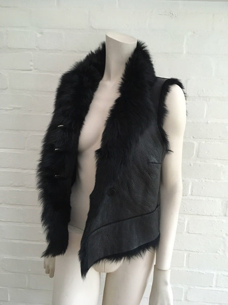 Joseph New Lucy Toscana Gilet SHEEPSKIN BLACK SHEARLING Vest ladies