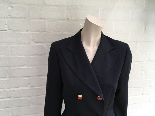 Amazing Rare Francesco Smalto 1980's Wool Blazer Jacket Dress UK 10 US 6 Ladies