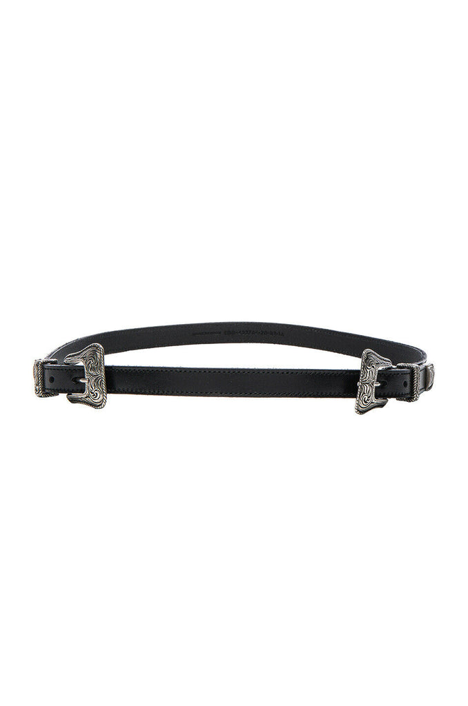SAINT LAURENT PARIS Double Buckle Western Belt MOST WANTED Ladies