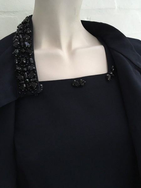 Valentino Jeweled Navy Coat + Dress Set Suit SO ELEGANT Size UK 8 US 4 S Small Ladies