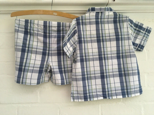 THE LITTLE WHITE COMPANY Check cotton pyjamas summer pajamas 5-6 years Boys children