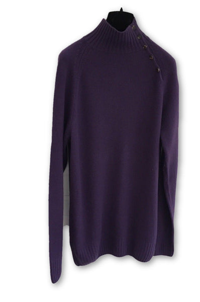 LORO PIANA Purple Pure Cashmere Mock Neck Sweater Jumper  Men