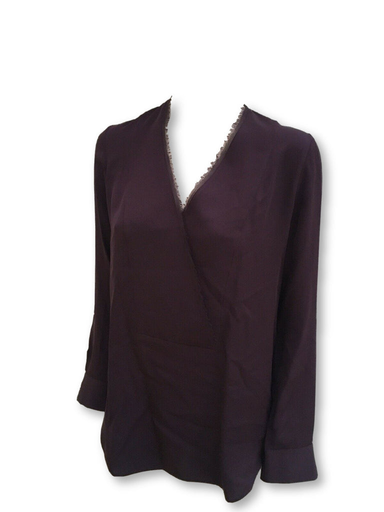 THEORY Ramalla wrap-effect silk blouse Size S/P SMALL ladies